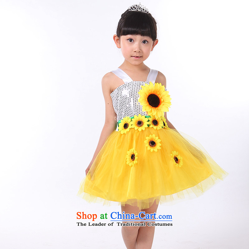 61. Children costumes girls of early childhood services Costume Dance children on chip sunflower will yellow 150