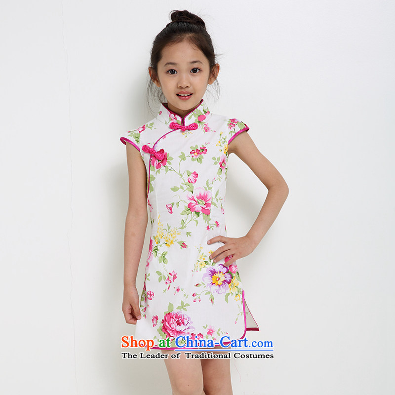 China wind children girls qipao qipao skirt Tang dynasty women 2015 Summer baby new summer short-sleeved clothes dresses new products map color 2 160 small a code