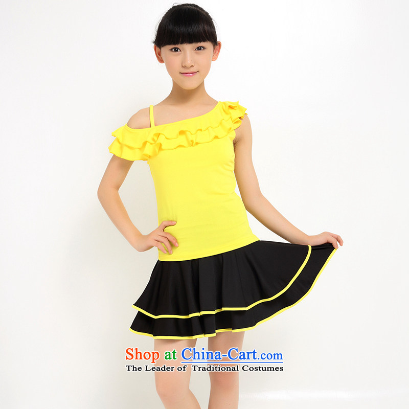 2015 Children Latin dance wearing girls dancing services new Latin dance skirt exercise clothing Services Mr Ronald early childhood costumes new yellow聽140