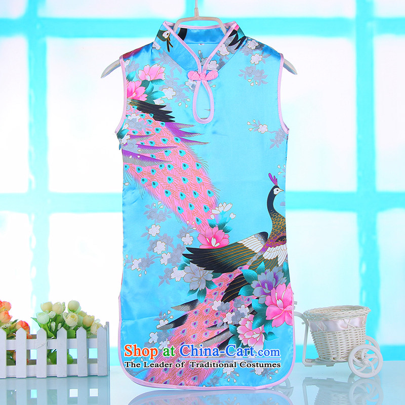 Summer girls qipao girls Tang dynasty princess skirt CUHK child baby cheongsam dress Blue 90