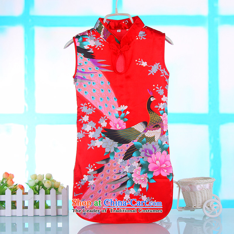 The girl children's wear cheongsam dress ethnic pure cotton girls skirts guzheng costumes Red 90