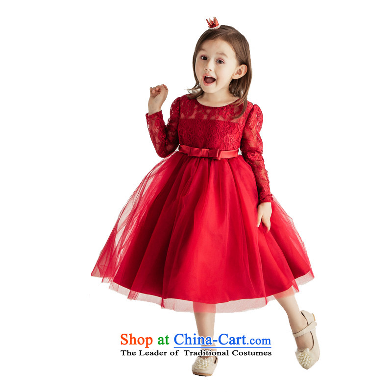 Po Jasmine children dress of the girl child and of children's wear skirts princess parent-child replacing Fall/Winter Collections 2015 New Flower Girls wedding dress custom wine red 120 - chest 66 waist 64