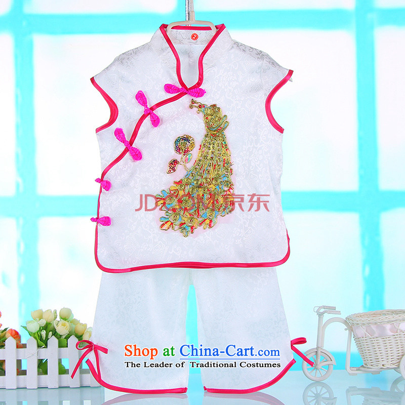 1-2-3-year-old children to Tang Dynasty Show 2015 Summer new girls retro Tang Dynasty 2 piece baby clothes summer will birthday dress summer white reference height of 100cm