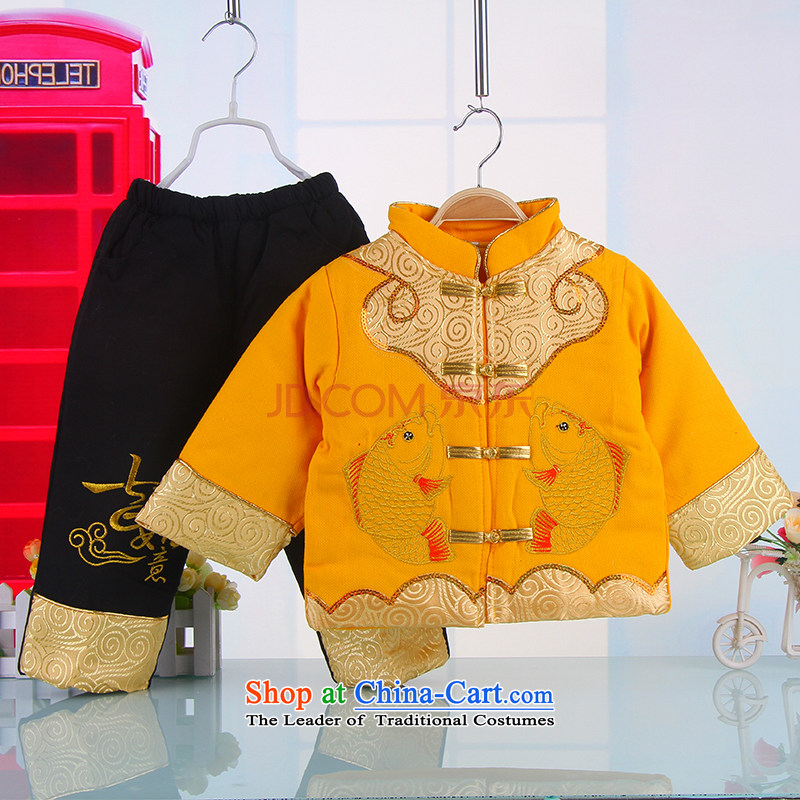 The happy new year-old baby Tang dynasty winter thick winter Tang dynasty infant children Tang Dynasty Winter 5377 Boy Yellow 90