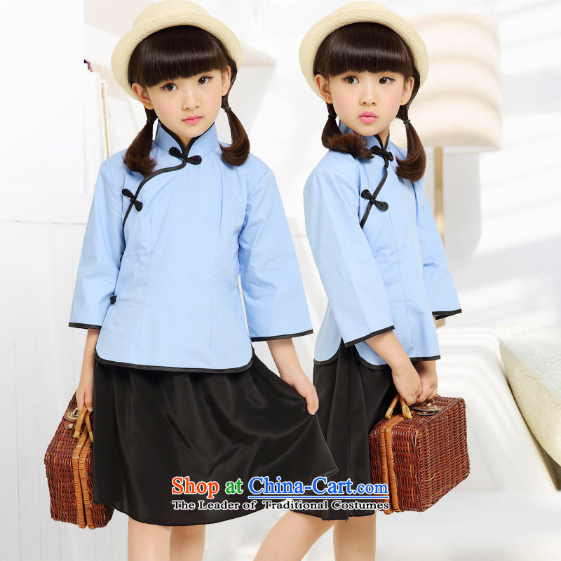 Children of the Republic of Korea will replace the 4 May Youth Apparel student girls choir uniforms graduated service retro Blue聽150