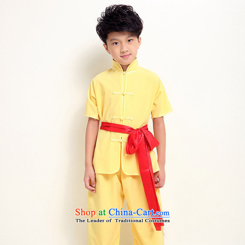 Children martial arts services for children with Taegeuk practicing summer clothing boy short-sleeved show services will serve the kung fu long-sleeved yellow 150