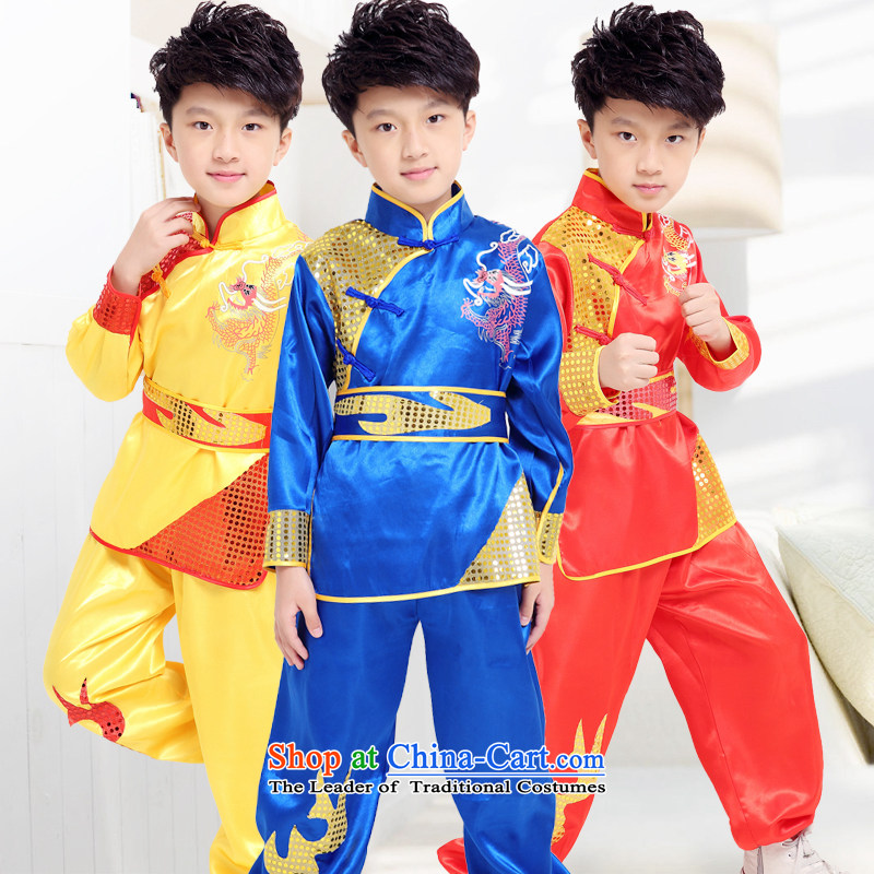 Children will exercise clothing boy martial arts performance services for children's dance wearing blue clothes Taiji Kongfu child聽140