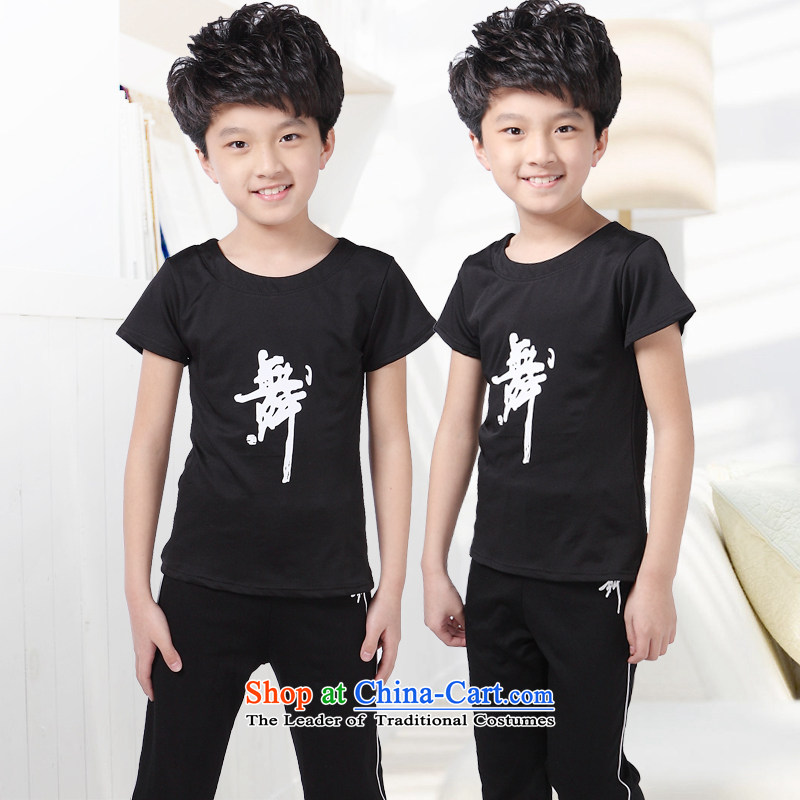 Children Dance package men and women serving in the summer of performance appraisal exercise early childhood services Latin Dance Dance gymnastics service long-sleeved boy short-sleeved black聽110