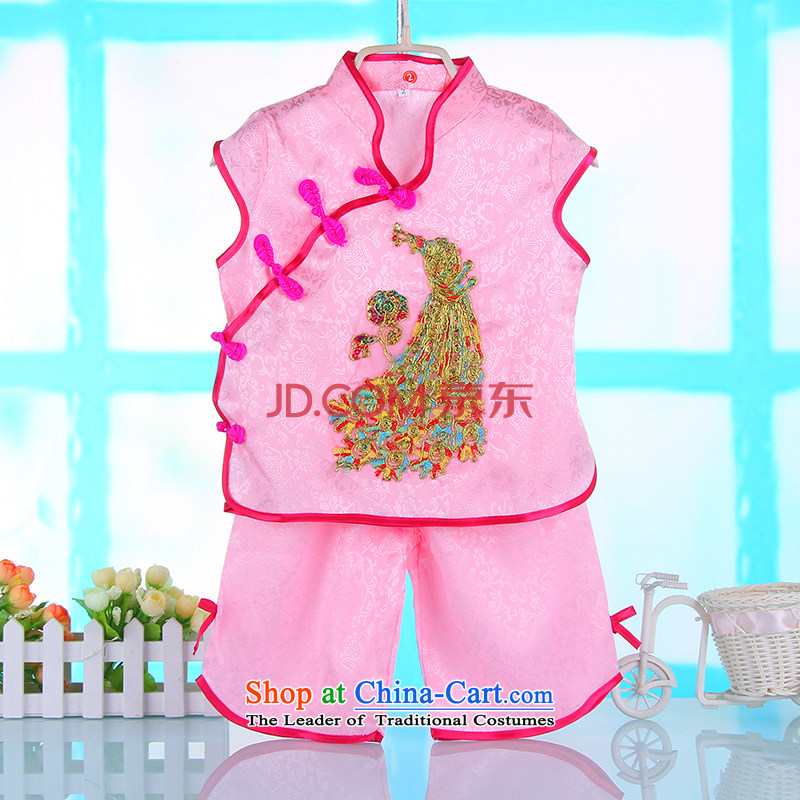 Tang Dynasty girls kit baby clothes summer gown Chinese children aged 1-2-3 summer kit pink 110