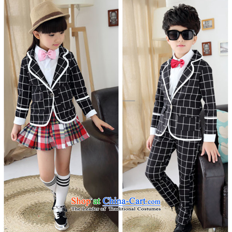 Sau children's wear uniforms autumn broadcast for boys and girls will replace three piece of pure cotton strip jackets to serve Garden nursery tie figure 150 boys height 140