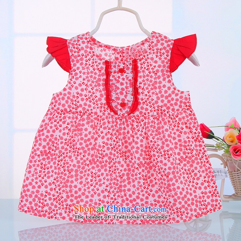 2015 children's wear girls dresses summer infant children skirt slips baby sleeveless jacket skirt Red聽80