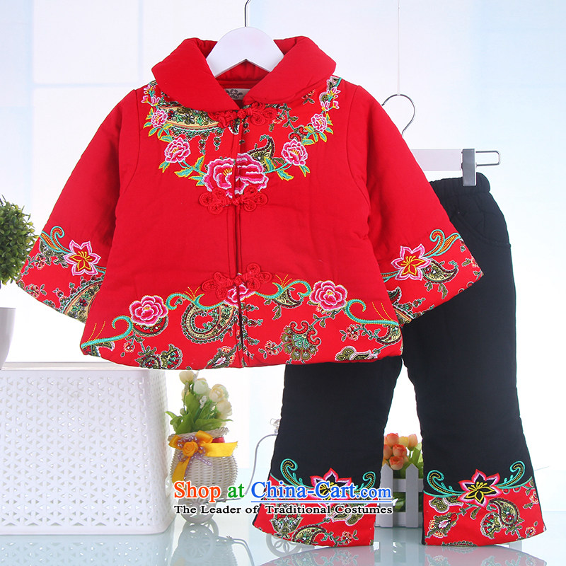The baby girl Tang dynasty winter coat New Year Tang Dynasty Infant Garment children aged 0-1-2-3 Week Winter Package Red 120