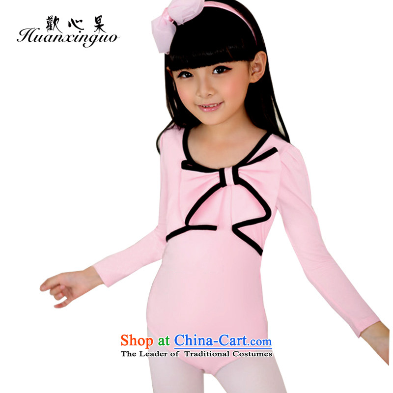 The results of the child and of children's wear winning the pure cotton long-sleeved clothing Girls fall Dance With Chinese dance exercise clothing girls gymnastics services150 yards HL-08 pink 150cm