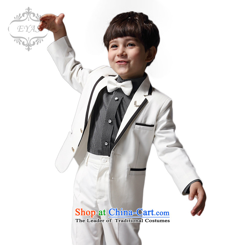 Eyas children piano costumes and boys suits Spring Kit White Flower Girls moderator dress jacket summer white four suits + trousers + tie + 130cm