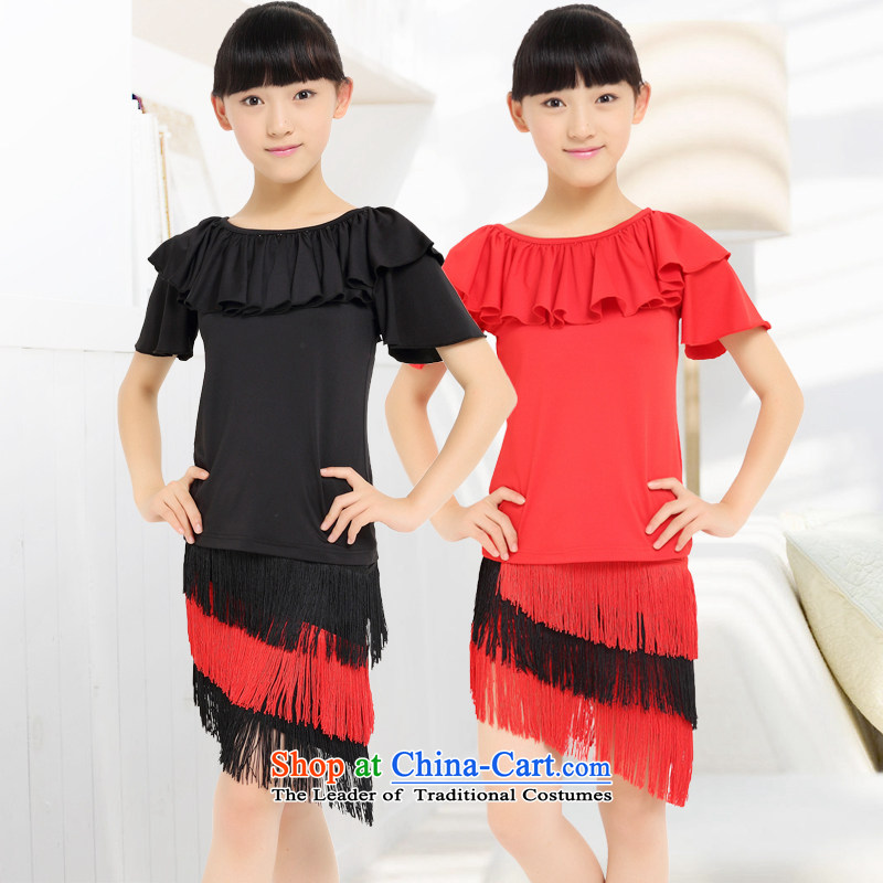 Children Latin dance wearing the new children's professional will flow su stitching dance skirt Yoga dance girls serving Latin Dance Red聽140