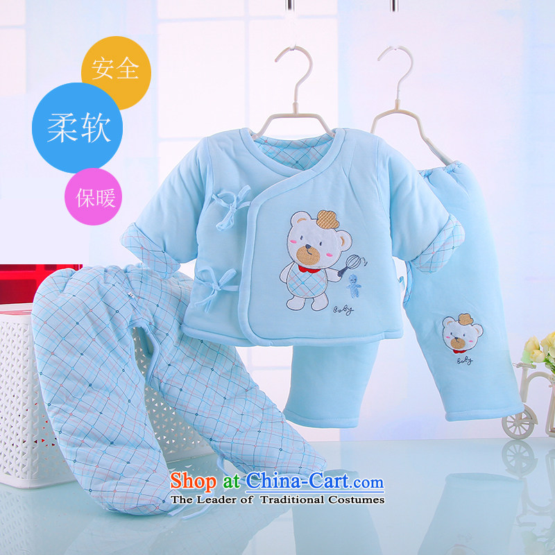 The new long-sleeved baby winter warm cotton serving a three-piece infant baby cotton coat kit baby package 4882nd Blue 110