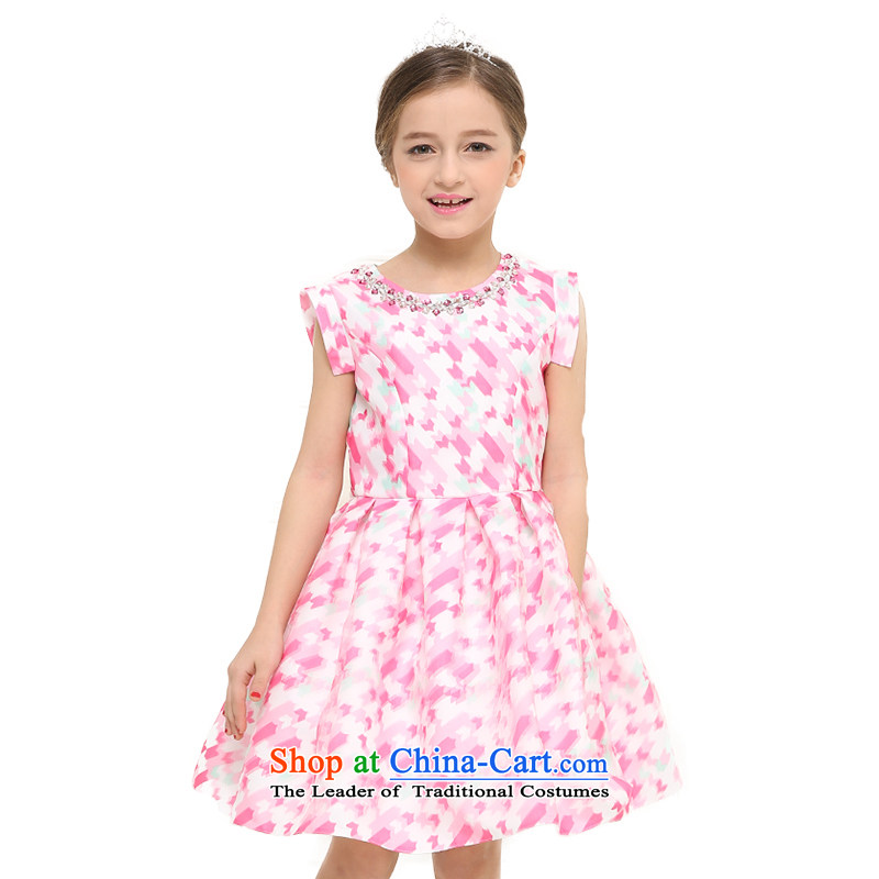 According to the children's wear picking land 2015 new girls princess skirts Korean children bon bon skirt dress vest the handlebars girls dresses summer pink 150