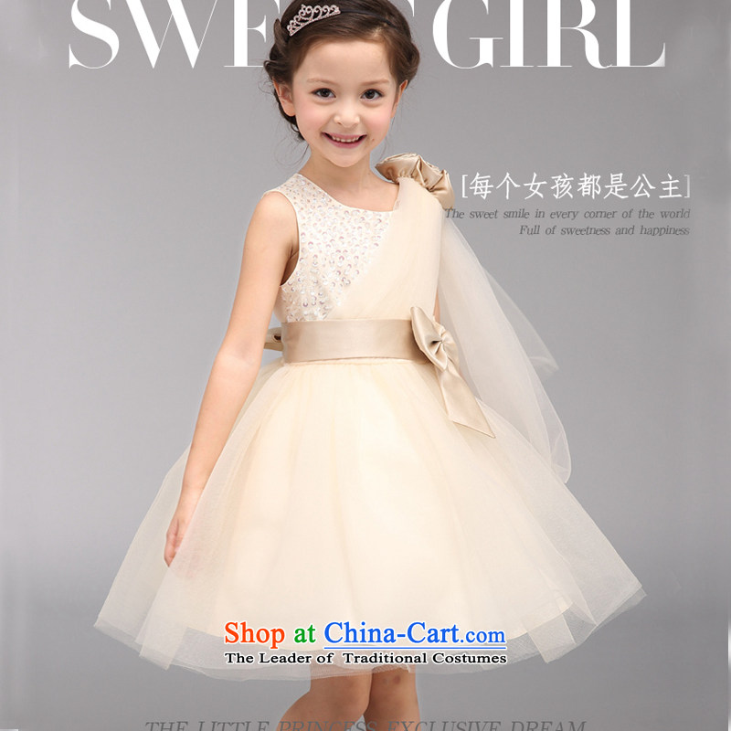 Children's dress evening dresses girls wedding flower girls dress princess fall 2015, Korean skirt version champagne bon bon skirt summer champagne color 120