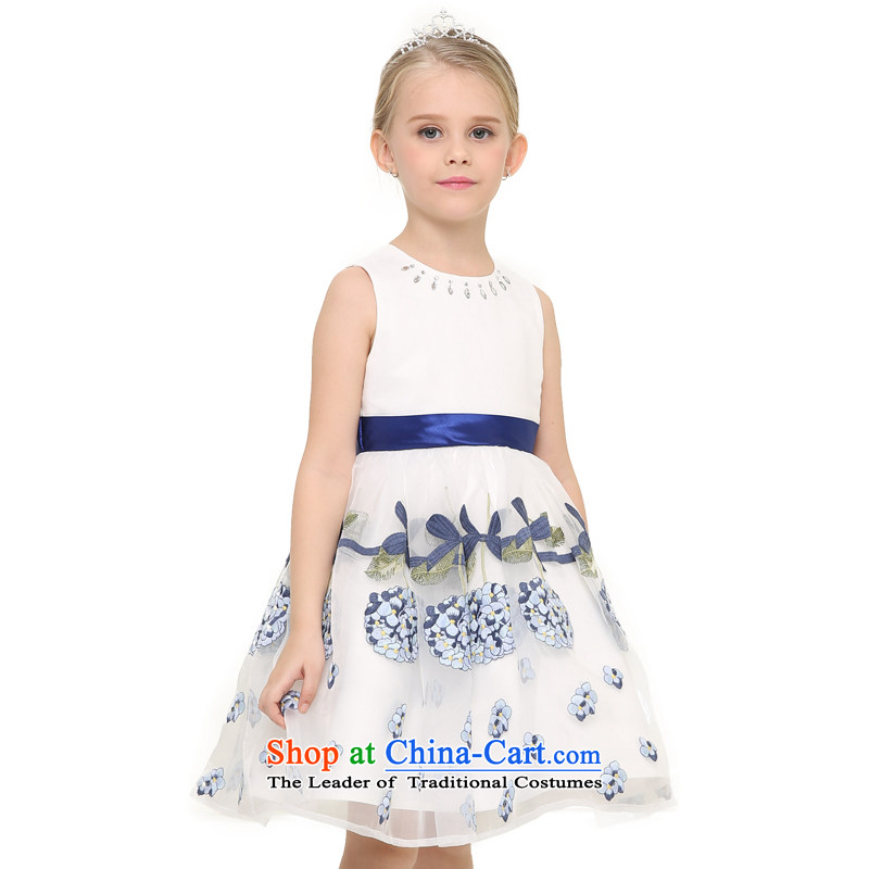 According to the children's wear land picking girls 2015 Summer new children the yarn embroidered sleeveless dress skirt evening dress skirt water drilling collar Light Blue150
