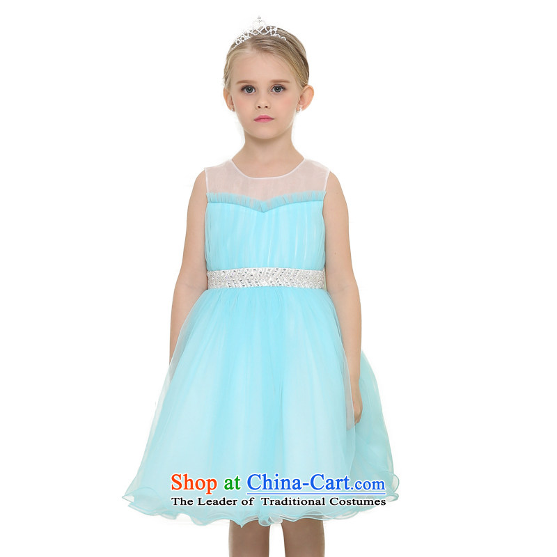 According to the 2015 Summer land picking the new girls sleeveless dress skirt Flower Girls bon bon skirt princess skirt French gauze waist water drilling skirt Light Blue 150