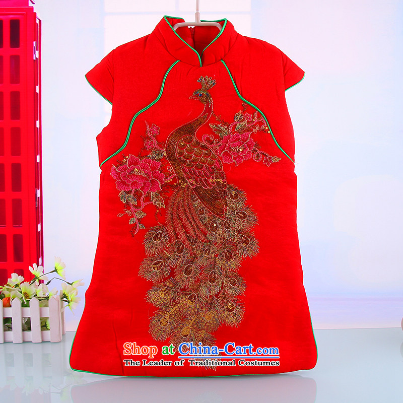 Winter new women's baby Tang dynasty cheongsam dress Warm girls ãþòâ vest skirt baby out services Red110