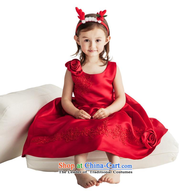 Po Jasmine children's apparel dress girls princess skirt evening dresses Flower Girls wedding dress bon bon skirt birthday gift for the custom size wine red - 5 day shipping