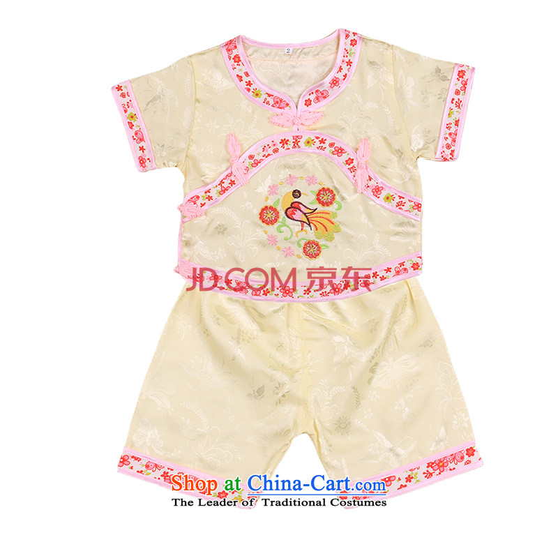 Tang Dynasty children Tang dynasty baby girl cheongsam damask Siu Fung fairy boy shorts, short-sleeved packaged New Concert Services Mr Ronald Yellow 90