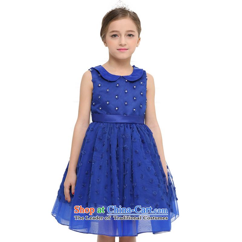 In accordance with the 2015 Land picking summer new children's wear girls sleeveless dress skirt water drilling princess bon bon skirt CUHK child will Blue150