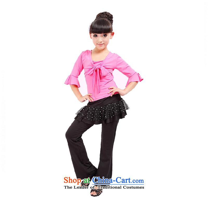 Children Dance services girls exercise clothing kit long-sleeved Latin dance performances will serve clothingTZ5122-0005plum140cm