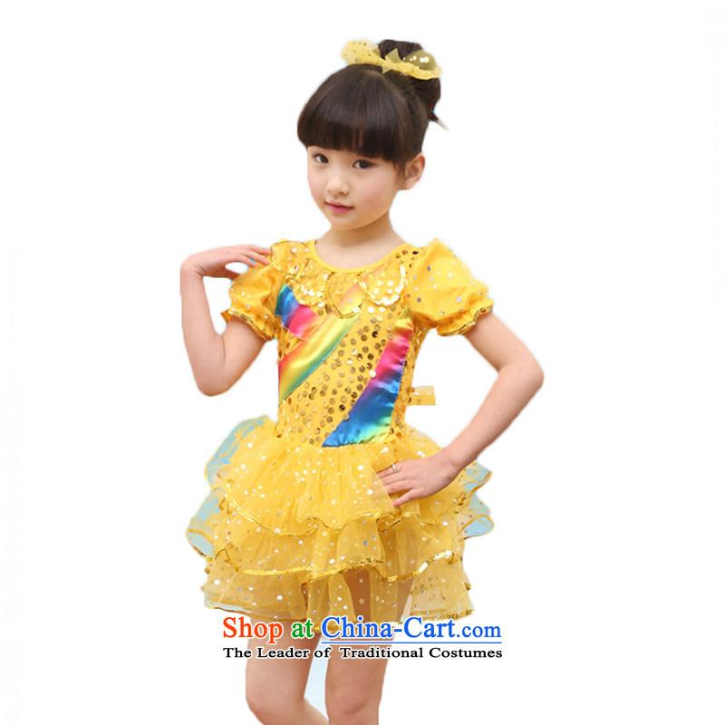 Children will dance girls serving kindergarten costumes and Children's dress princess bon bon skirt game servicesTZ5122-0012Yellow140cm