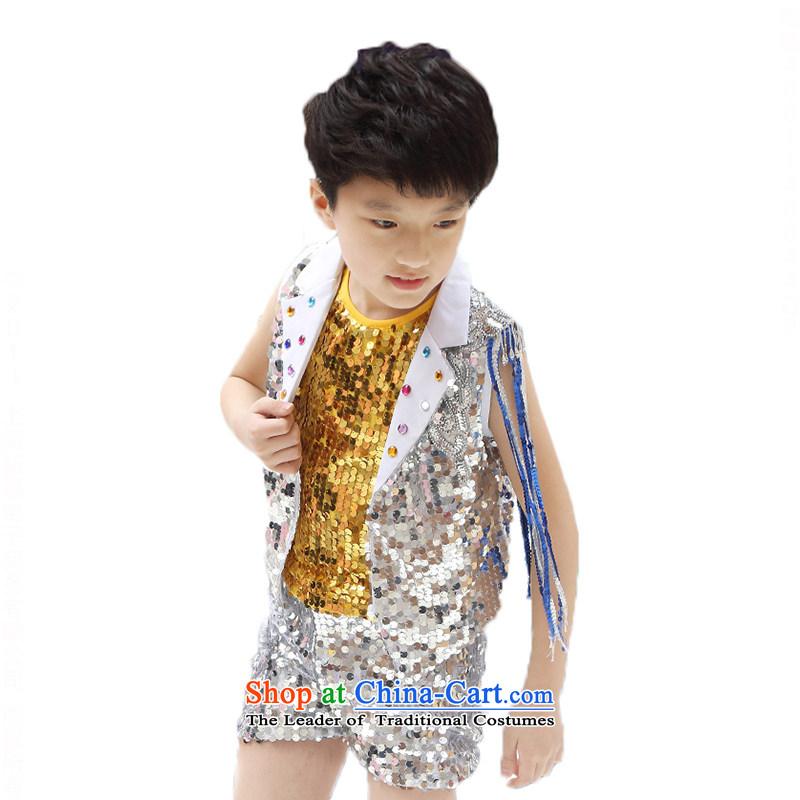 Children will boy of modern jazz dance package on the girl child care services show dress chipTZ5122-0020gold men150cm