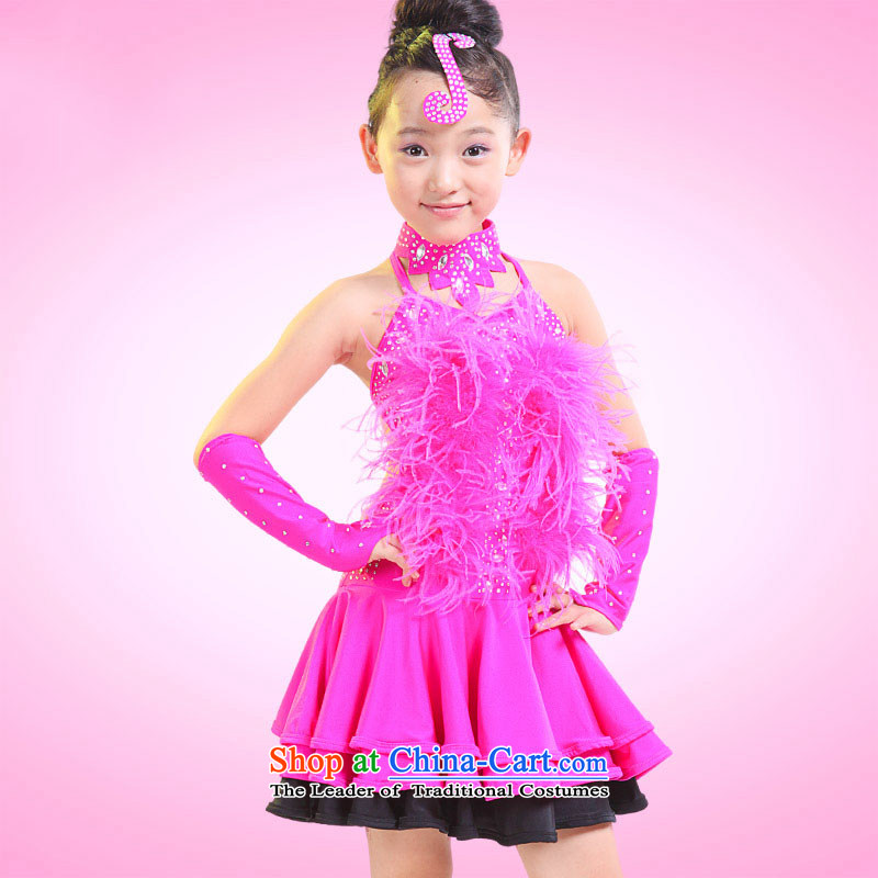 Children costumes Shao Er Latin dance wearing girls dancing services early childhood Latin dance performances聽by serving TZ5122-0007 skirt red聽130cm