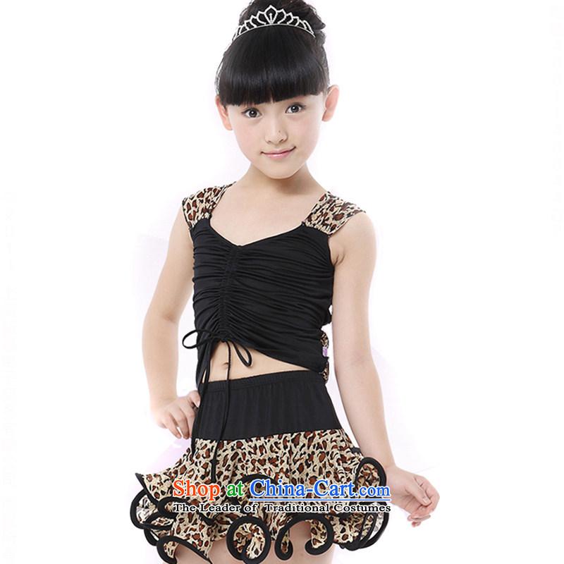 Children Latin dance skirt girls Latin dance serving children Leopard Latin dance exercise clothing�TZ5123-0003�black�140cm