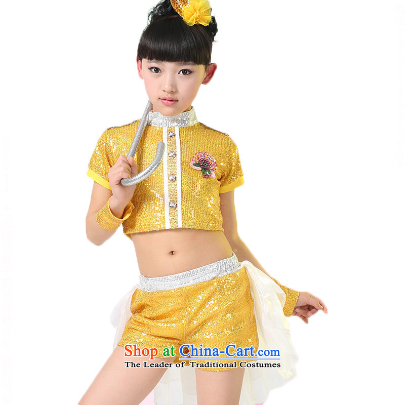 Children will jazz dance girls on chip modern dance jazz dance costume?TZ5123-0006 Services?Yellow?130cm