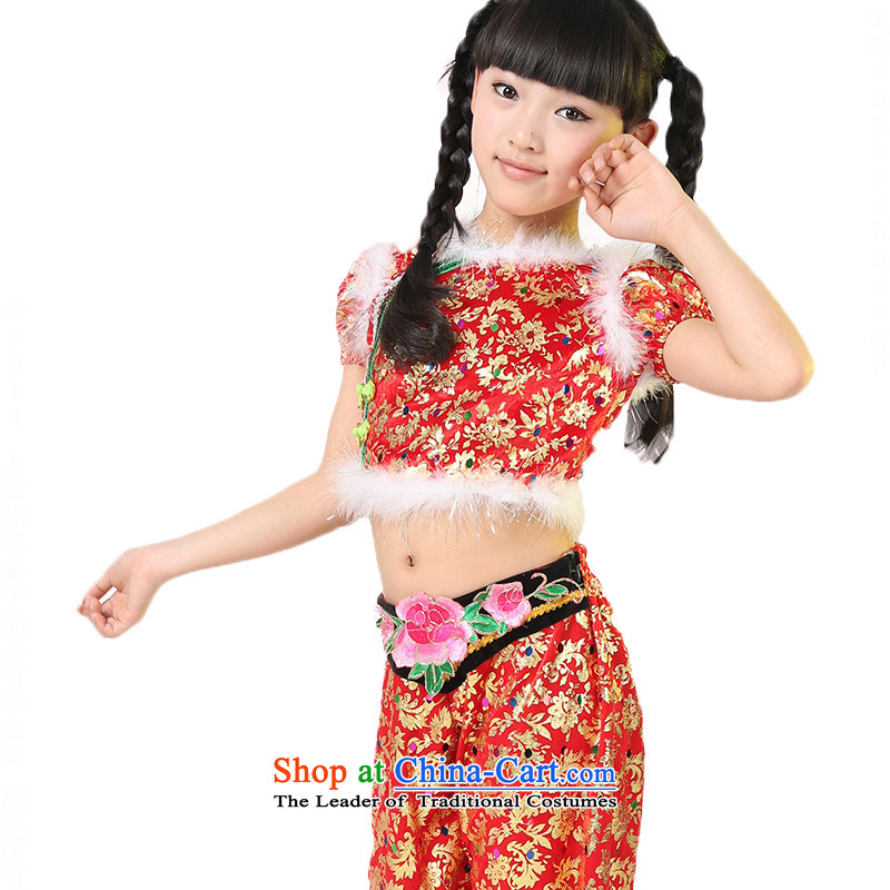 Children will serve a dance performance of early childhood yangko girls handkerchief dance TZ5123-0010 red 150cm