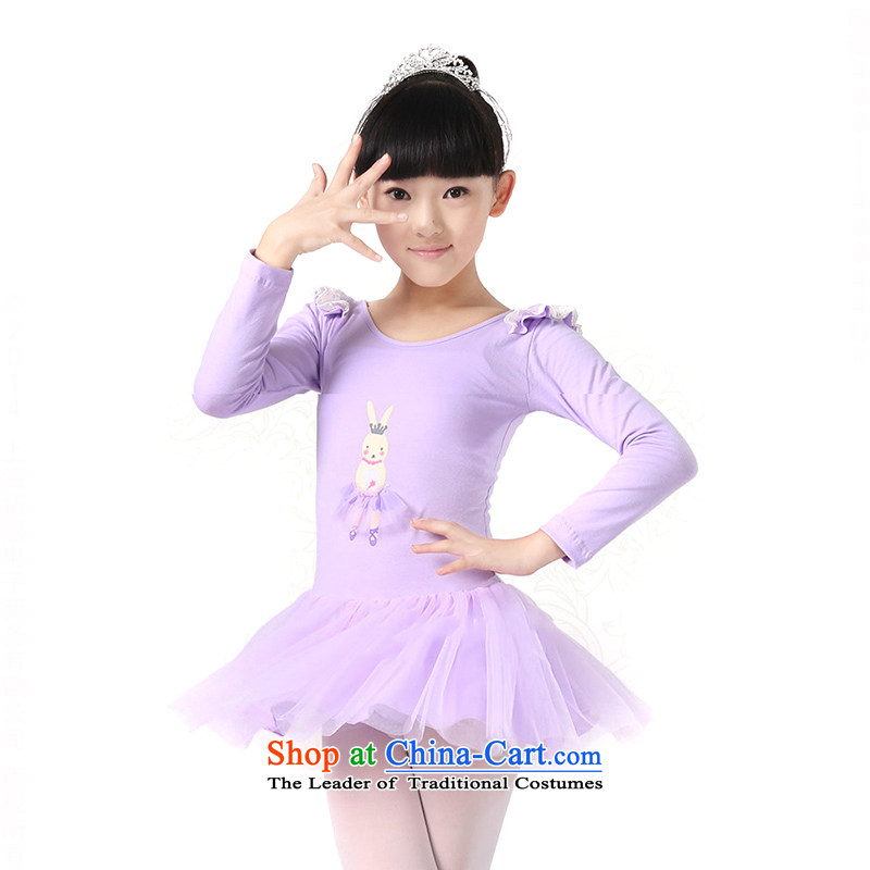 The girl child dance skirt early childhood Ballet Dance skirt service (not included) TZ5123-0013 socks purple (long-sleeved) 130cm