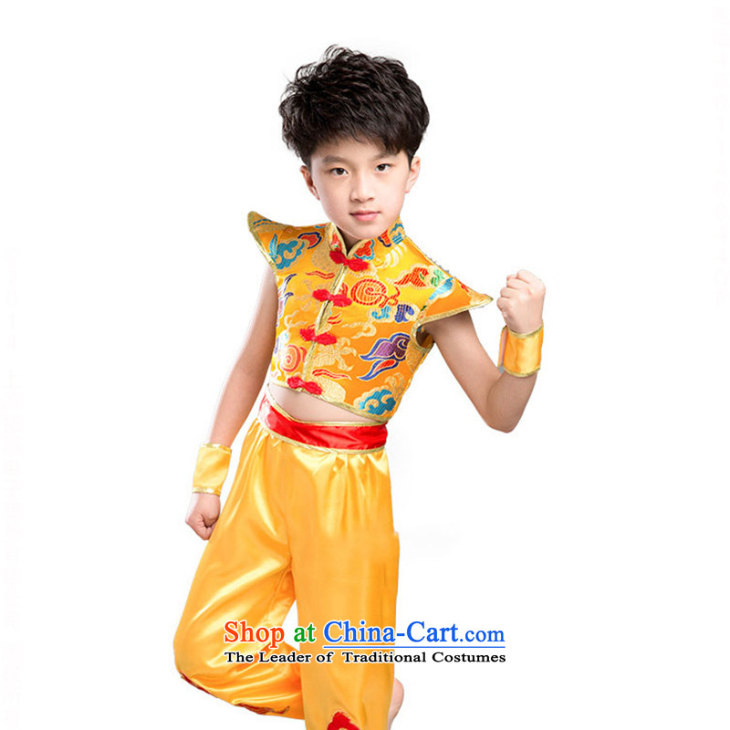 Children will martial arts services boy martial arts Kung Fu performances services serving girls TZ5123-0012 yellow (male) 150cm