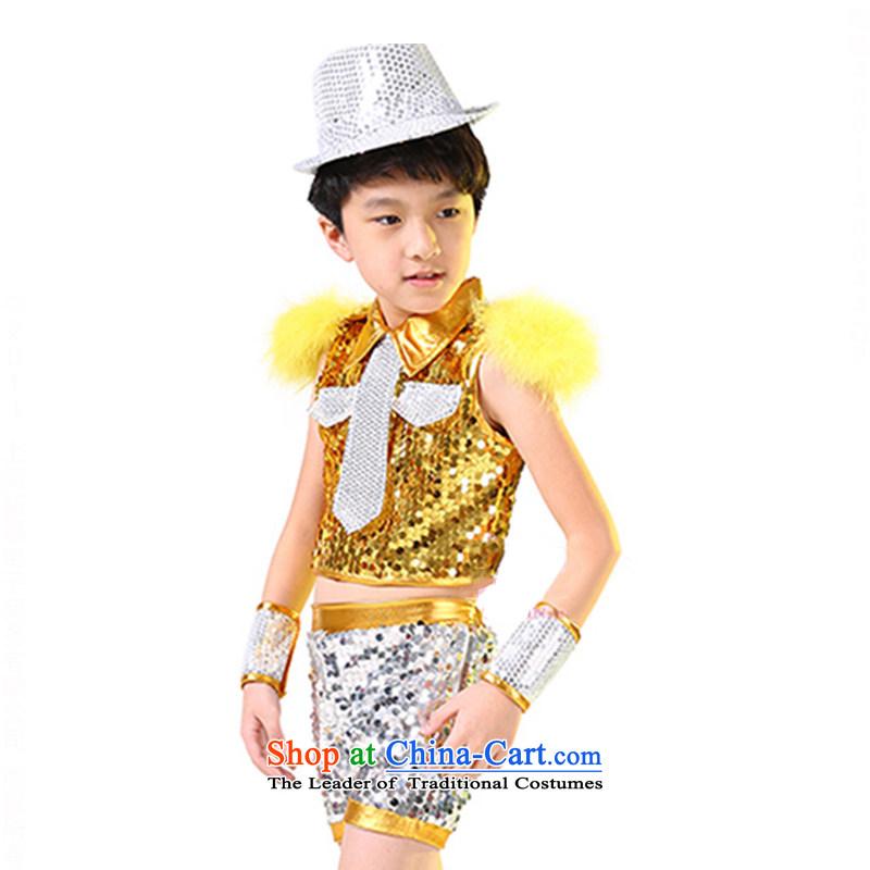 Children will serve boy Jazz Dance Dance Dance costumes street children's entertainment services girls聽TZ5123-0014聽yellow _male_ 150cm