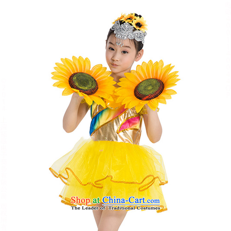 Children will be yours with a small girl child-rearing orchids to Sunflower Sun ServicesTZ5123-0017 Costume DanceYellow130cm