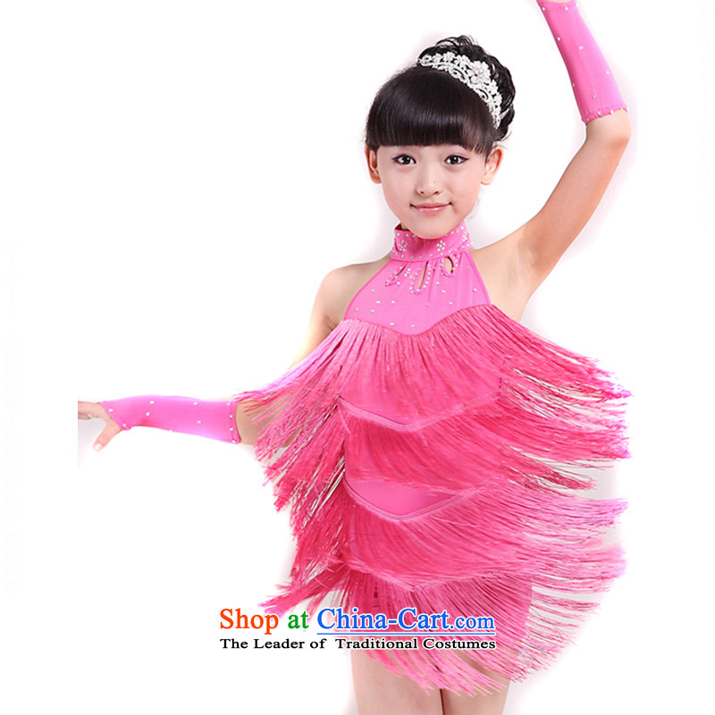 Children Latin dance wearing girls children edging Latin dance performances of early childhood services skirtTZ5122-0008red (size is too small a number of 160cm)