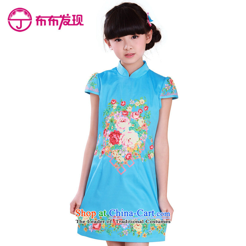 The Burkina found Summer 2015 children's wear new products of ethnic girls qipao CUHK child Tang dynasty stamp cheongsam dress Blue 160
