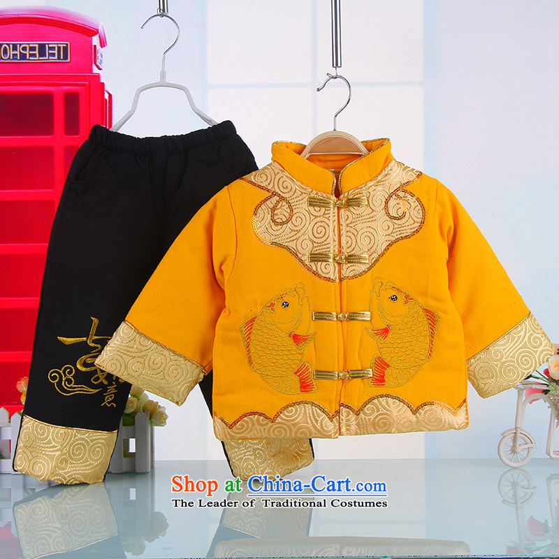 The happy new year-old baby Tang dynasty winter thick winter Tang dynasty infant children Tang Dynasty Winter 5377 boy yellow?110