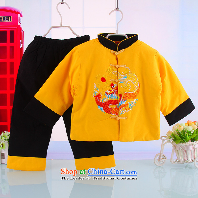 2014 New Child Tang dynasty two kits of infant and child children warm thick warm Tang replacing two kits 5208 Yellow100