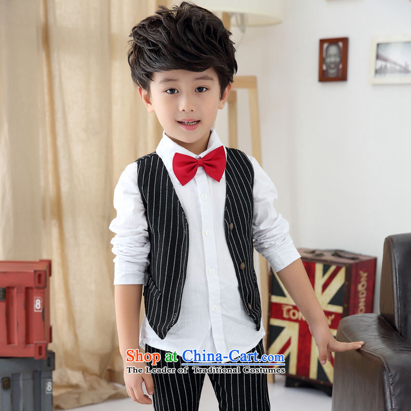 Sau broadcast boy three piece dress autumn) Boys show services to the British gentleman Ma Pants Shirts Clip Kits Flower Girls packaged services Bora Bora style black 140 Height 130