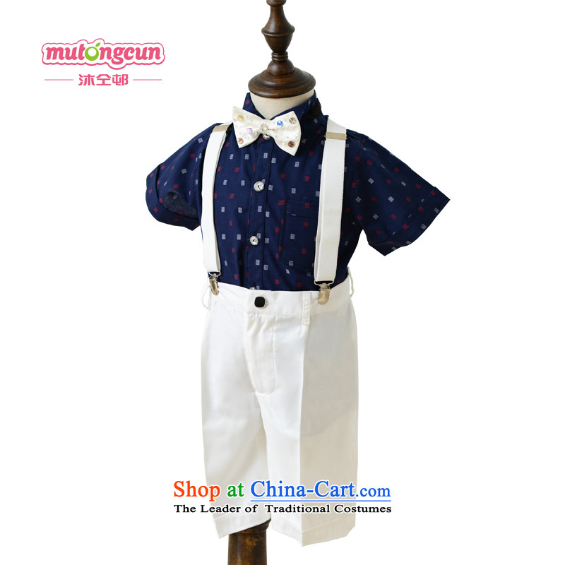 Bathing in the staff of the estate boy strap Flower Girls dress2015 boy jumpsuits kit, the Bangwei costumes and shirts trousers will BD06 dark blue shirt + white strap shorts150cm