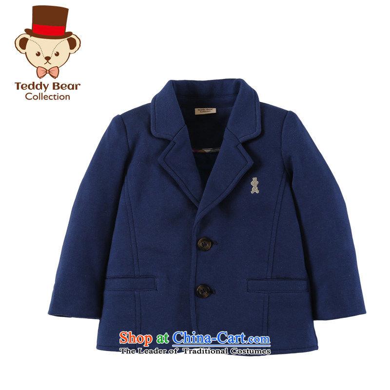 Teddy boy autumn and winter, knitting leisure suit your baby pure cotton England small jacket coat Navy Blue 120
