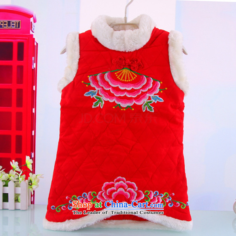 Winter New 1-4 years female babies Tang dynasty cheongsam dress Warm girls ���� vest skirt baby out services Red�90
