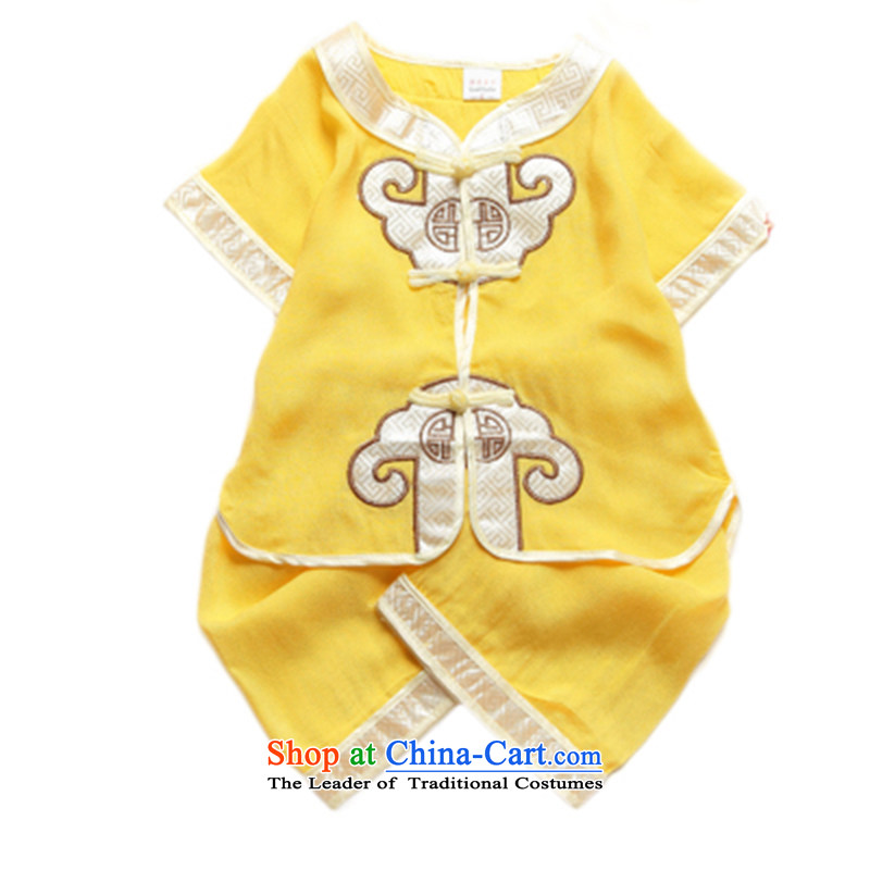 Tang Dynasty boy of ethnic Chinese children birthday gifts for summer clothing 0-1-2-3 age babies will replace Tang Shorts, short-sleeved two kits Show Services Yellow 73