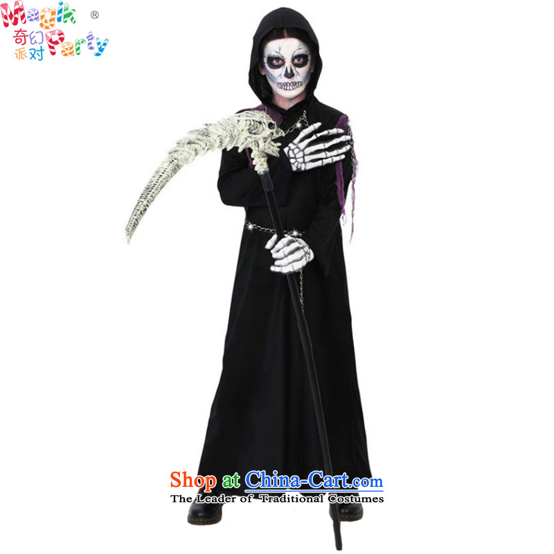 The boy Halloween costume masquerade dress party gathering play services school children costumes and black robe no masks and gloves Xl(155cm) cane
