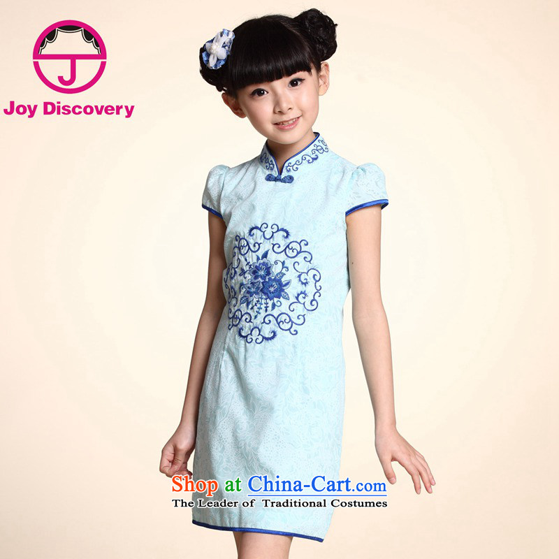 The Burkina found the children's wear dresses summer girls qipao 2015 new ethnic Tang dynasty porcelain children qipao Light Blue?160